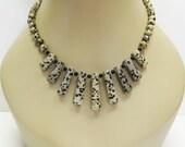 SALE Dalmation Jasper Necklace - Tan and Black Necklace - Gemstone Necklace - Statement Necklace - Pendant Necklace - Multi Color Necklace