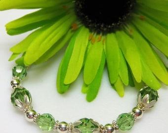 40% off Peridot Swarovski Crystal Bracelet - August Birthstone Bracelet - Gift Idea - Plus Size Bracelet - Birthstone Jewelry - Sterling Sil