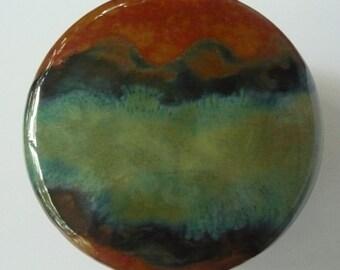 Handmade Stoneware Midnight  Blues, Browns and Greens  Lidded Jar Jewelry Box