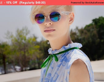 Winter Sale 15% Off!!! under 50, Flower print blue shirt with green velvet tying and pleats