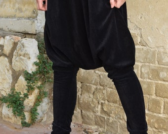 ON SALE 40% off! Black velvet Harem pants, Harem pants, loose pants, tying pants