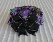 "Custom for Julie - Purple and Green Floral Dog Scrunchie Collar with big black bow - Size XS: 10"" to 12"" neck"