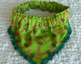 "Dog Bandana, Dog Scrunchie, Dog Collar, Candy Canes on Lime Bandanchy with dark green lace trim - Size M: 14"" to 16"" neck"