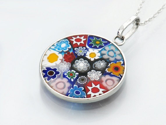 Vintage Glass Millefiori Pendant | Italian Glass Small Pendant | Thousand Flower Jewelry | Multi Colored Flowers - 20 Inch Sterling Chain