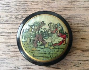 Vintage 1930s Powder Compact Pot / Butterfly Wing Decoration / Dutch Children Holland
