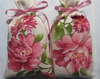 "Pink 4""X2.5"" Sachet-'Victorian Rose' Fragrance-Mauve Floral Wedding/Bridal Sachet-Cotton Fabric Botanical/Herbal Sachet-Cindy's Loft-655"