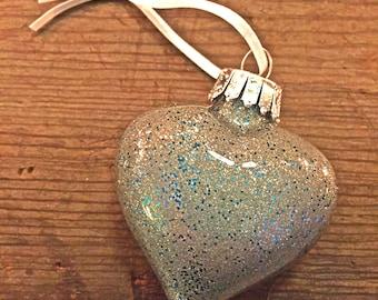Blue Steel Glass Heart Ornament
