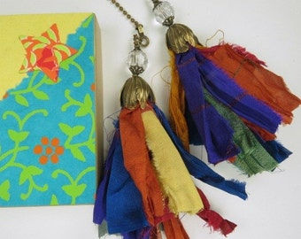 Chain Pull Pair for Ceiling Fan or Light, Sari RibbonTassle Fan Pull with Crystal Accents and Antiqued Brass Tulip Cap