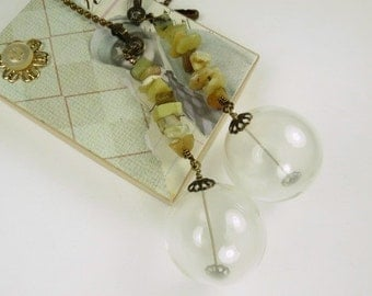 Chain Pull Pair for Ceiling Fan or Lamp with Clear Hollow Glass Beads and Wax Opal Gemstone Chips