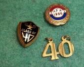 Class of 40 Lapel Pin ,1940's Charm,1924 A.F.A enamel Air Force Americans Forward Associanion ,High School Pinback,Group,Lot
