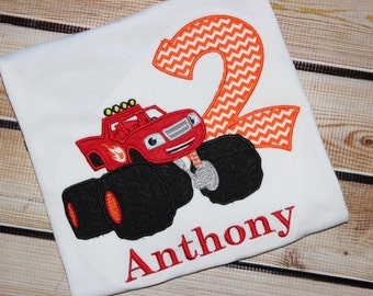 Personalized Blaze Birthday Shirt with Number and Blaze Monster Truck