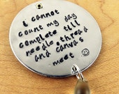 Hand stamped mixed metal, needlepoint, phrases, personalized, pendant, sayings, copper, brass, aluminum