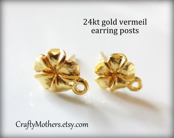 Use TAKE10 for 10% off! ONE Pair Bali 24kt Gold Vermeil Plumeria Flower Earring Posts, 10mm x 7.6mm, 2 pcs, Artisan-made
