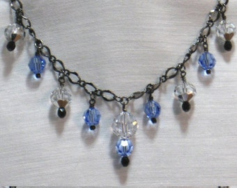 Crystal Necklace, RAZZLE DAZZLE Handmade Necklace and Earrings, Beaded Chain Necklace