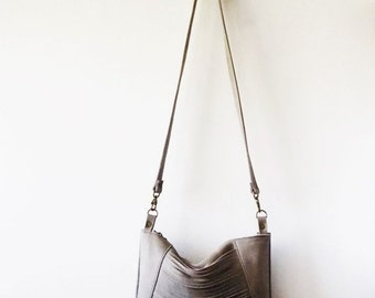 ON SALE Gray  leather bag, Every day purse , Cross-body bag