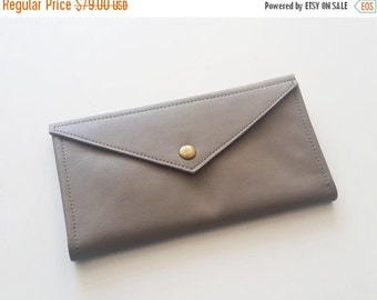 ON SALE Grey envelope  wallet - leather women wallet