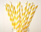 CLEARANCE, Sunflower Yellow Striped Paper Party Straws, Striped Party Straws, 25 Straws Per Pack