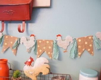 Chicken Banner, farmhouse decor, chicken decor,  chicken art, burlap banner, chicken signs, pennant flag, fabric garland, polka dot banner