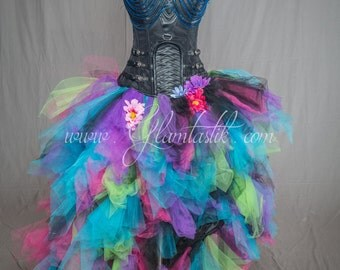 Ready to ship size small LIGHT UP neoned colored tulle Burlesque leather Corset Dress short in the front long train in the back