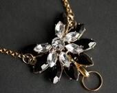 Black and White Lanyard. Crystal Lanyard Necklace. Rhinestone Lanyard. Gold Lanyard. Badge Lanyard. Work Lanyard for Women. Badge Necklace.
