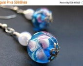 VALENTINE SALE Lampwork Glass Beaded Earrings - Floating Peonies. Handmade Jewelry by Gilliauna