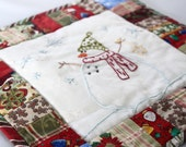 Snowman Quilted Holiday Wall Hanging - mini quilt  - hand stitched and beaded