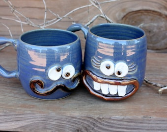 Fall Wedding Mr and Mrs Mug Gift Set. His and Hers Coffee Cup Pair. Couples Ceramic Mugs. Blue Coffee Cups. Man and Woman Face Mugs.