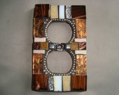 MOSAIC Electrical Outlet COVER , Wall Plate, Wall Art, Brown, Copper, Silver, Van Gogh Glass