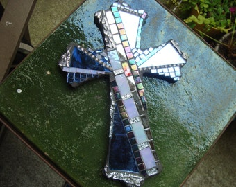MOSAIC CROSS - Wall Art, Wall Hanging, Home Decor, Blue and Silver, Christian, Religious