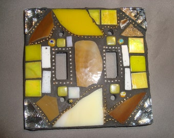 MOSAIC LIGHT SWITCH Plate Cover - Double,tan, Brown, Off White, Yellow, Silver, Gold