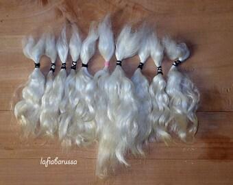 mini Doll Hair Combed Mohair  5-7 in 1/2 oz white locks angora goat/ pukifee/ bjd/ reroot/  Reborn/ momoco/ doll wig