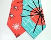 Mid Century Neckties Coral Neckties Aqua Neckties Coral and Aqua Neckties Custom Neckties  Coral Wedding Neckties Peach Neckties