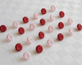 24  very pretty small pearlized  glass buttons - 2 diff. colors -   (11 mm - 7/16 in.)  -