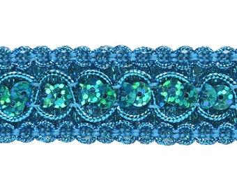 "Turquoise Holographic Trish Sequin Metallic Braid Trim 7/8"" (E6973-tr)"