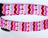 Be My Valentine Red White and Pink Ric Rac Stripe with Hearts Love Dog Collar
