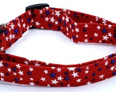 Land of The Free Red White and Blue Patriotic Stars American Dog Collar