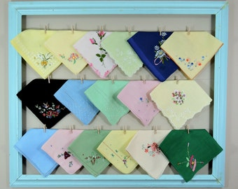 Vintage Hankies / Colorful Hankerchiefs / Solid Color Landies Hankies