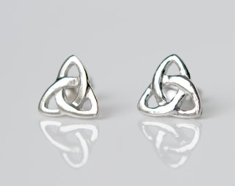 Celtic earrings, sterling silver studs, triangle triquetra, silver celtic knot, irish, infinity knot, simple classic jewelry - Enid