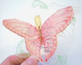 Vintage BIRTHDAY CARD - 1950s BUTTERFLY Card - Gift Card on Plastic