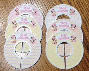 Baby Closet Dividers - Baby Minnie Mouse pink and yellow; Closet Organizers Baby Gift
