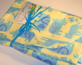 Extra Large - Blue Egyptian Themed Animal Print Flannel Receiving Blanket, Flannel Receiving Blankets, Baby Blankets Swaddle Blankets