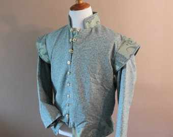 "Chest 46"" Olive Tweed Tudor Renaissance Medieval Mens Lords Doublet Game of Thrones"
