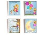You are smarter than you think, braver than you believe, stronger,loved,set of 4 art prints with positive quotes for girls room,nursery art