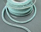 ON SALE Acqua braided silk cord, bookbinding cord, thick cord - 6mm, 1m