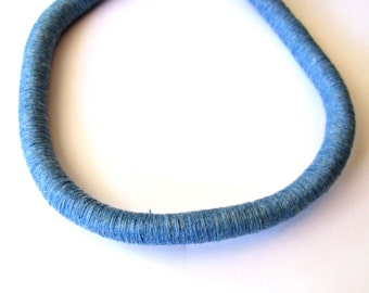 Blue cotton cord, 12mm thick wrapped cord, 1m