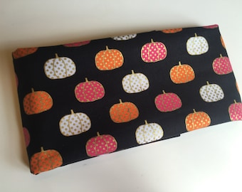 Fat quarter cotton fabric | Spotted Pumpkins | Gold shimmer detail | Orange | Pink | White | Black | Halloween | Ready to ship!
