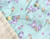 Vintage 1960s Childs Blanket / 33x66 Childs Bedding Coverlet / Yellow Mint Green Cotton Flannel, Bunnies Ducklings Novelty Print, Home-Sewn