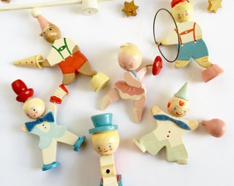 Vintage 1960s Irmi Circus Crib Mobile / Hand Painted Pastel Carved Wood Figures / Sold for Parts, Display or Set Prop