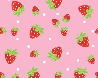 Strawberry Festival In The Beginning Fabric Strawberries and Polka Dots on Black