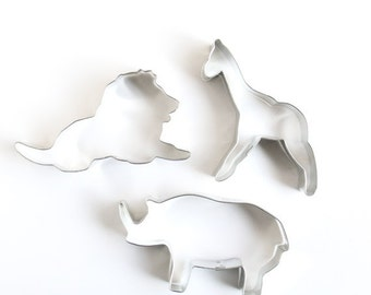 Zoo Animal Cookie Cutter Set, Circus Animal Cookie Cutters, African Animal Cookie Cutters (Lion, Giraffe and Rhino Cookie Cutters)